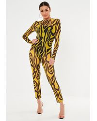 Missguided Zebra Print Mesh Long Sleeve Unitard Playsuit - Yellow