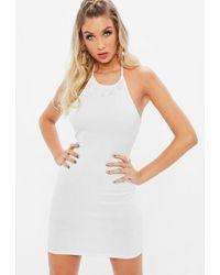 0b70480962c3 Missguided White Premium Bandage One Sleeve Mini Dress in White - Lyst