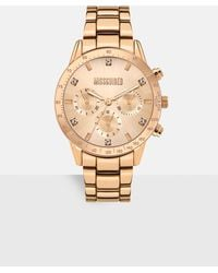 Missguided Rose Gold Look 3 Dial Metal Strap Watch - Metallic