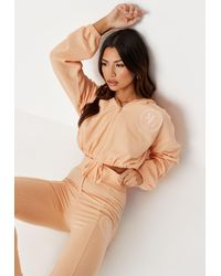 Missguided - Tangerine Waffle Embroidered Cropped Hoodie - Lyst