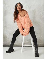 Missguided Orange Hand Knit V Neck Oversized Sweater