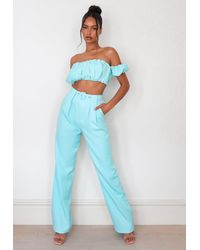 Missguided Co Ord Belted Straight Leg Pants - Blue