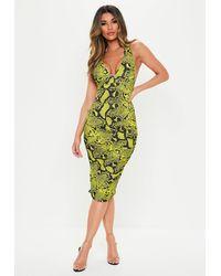 Missguided Lime Snake Plunge Slinky Cross Back Midi Dress - Green
