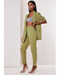Missguided Olive Co Ord Button Detail Cigarette Trousers - Green