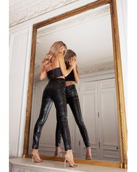 Missguided Black Faux Leather Croc Trousers