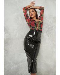 Missguided Vinyl Midi Skirt - Black