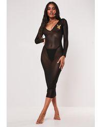 Missguided Playboy X Black Mesh Bodycon Midi Dress