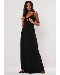Missguided - Black Knot Front Cami Maxi Dress - Lyst