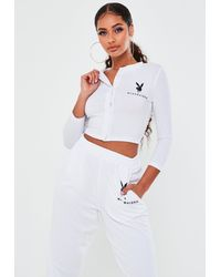 Missguided Playboy X White Button Front Crop Top