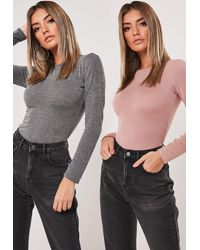 Missguided Grey And Nude 2 Pack Crew Neck Bodysuits - Gray