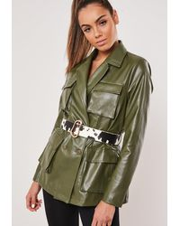 Missguided Cream Abstract Buckle Cow Print Belt - Green