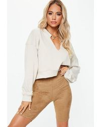 8f25437e0854 Missguided - Tan Airtex Faux Suede Cycling Shorts - Lyst