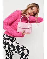 Missguided Pink Mock Croc Top Handle Mini Bag