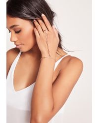 Missguided Rose Gold Simple Hand Chain - Metallic