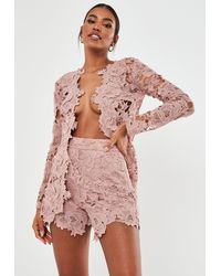 Missguided Blush Co Ord Crochet Lace Shorts - Pink