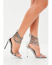 Missguided - Silver Metallic Chain Barely There Heels - Lyst