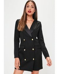 Missguided Petite Long Sleeve Tuxedo Dress Black