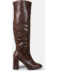 Missguided Snake Knee High Mid Heel Boots - Brown
