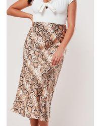 Missguided Plus Size Brown Snake Satin Slip Skirt