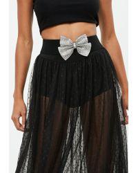 Missguided - Black Embellished Bow Belt - Lyst