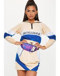 Missguided - Nude Colourblock Motocross Shell Suit Jacket - Lyst