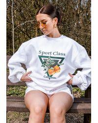 Missguided Hannah Renée Edit White Sport Class Embroidered Oversized Sweatshirt
