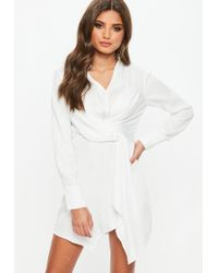 bbaaee36da1e7 Missguided White Striped Asymmetric Hem Dress in White - Lyst