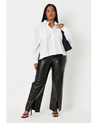 Missguided Size Black Faux Leather Split Front Wide Leg Trousers
