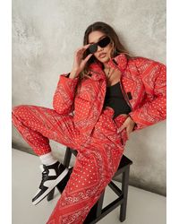 Missguided Co Ord Bandana Print Puffer Jacket - Red