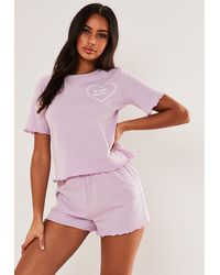 Missguided In Your Dreams T Shirt And Shorts Pyjama Set - Purple