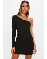 Missguided - Black One Sleeve Mini Dress - Lyst