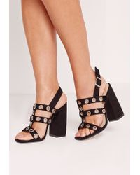 Missguided Eyelet Detail Block Heel Black