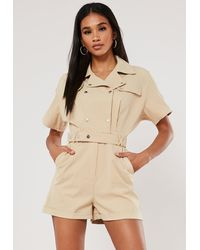 Missguided Stone Utility Short Sleeve Popper Playsuit - Natural