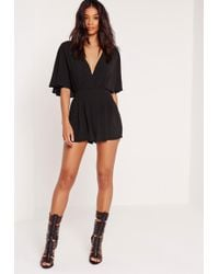 Missguided Batwing Sleeve Playsuit Black