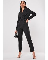 Missguided Black Blazer Style Wrap Front Straight Leg Jumpsuit