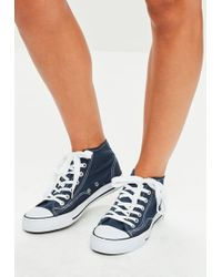 Missguided - Navy High Top Canvas Trainers - Lyst