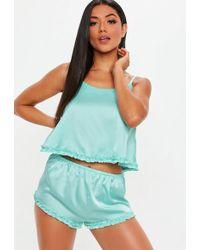 Missguided Aqua Ruffle Satin Cami Pyjama Set - Blue