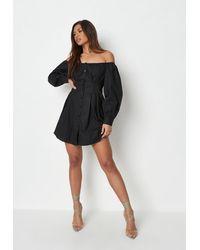 Missguided - Bardot Pleated Waist Poplin Shirt Dress - Lyst