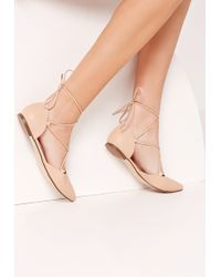 Missguided Lace Up Pointed Toe Flat Shoe Nude - Natural