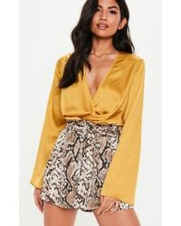 9fff306e613c5 Lyst - Missguided Yellow Wrap Front Hammered Satin Bodysuit in Yellow