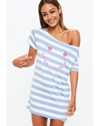 Missguided - Blue Striped Heart Love Yourself Night Tee - Lyst