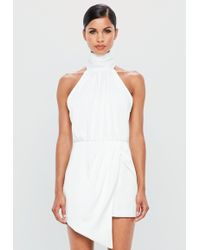Missguided - Peace + Love White Wrap Satin Playsuit - Lyst