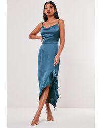 Missguided Satin Ruffle Side Cami Midi Dress - Blue