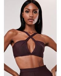 Missguided - Purple Co Ord Bandage Cross Front Bralet - Lyst