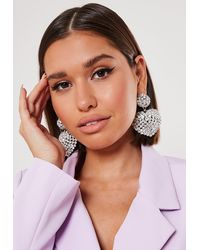 Missguided Silver Look Diamante Dropped Heart Earrings - Metallic