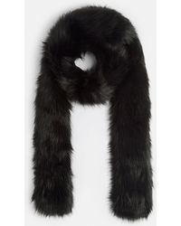 Missguided - Black Faux Fur Extra Long Scarf - Lyst
