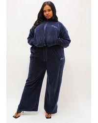 Missguided Sean John X Plus Size Navy Velour Wide Leg Pants - Blue