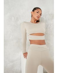 Missguided Nude Layering Cut Out Gym Top - Natural