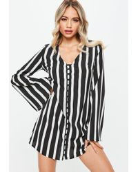Missguided - Black Monochrome Stripe Button Up Flared Sleeve Tea Dress - Lyst