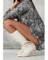 Missguided Mock Croc Tubular Calf Stiletto Boots - Natural